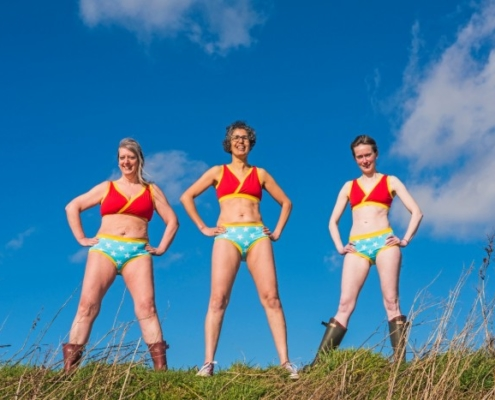 Rachel Weiss, Heather Borderie Helen Kemp in empowering Molke underwear!