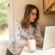 Businesswoman networking from home with laptop